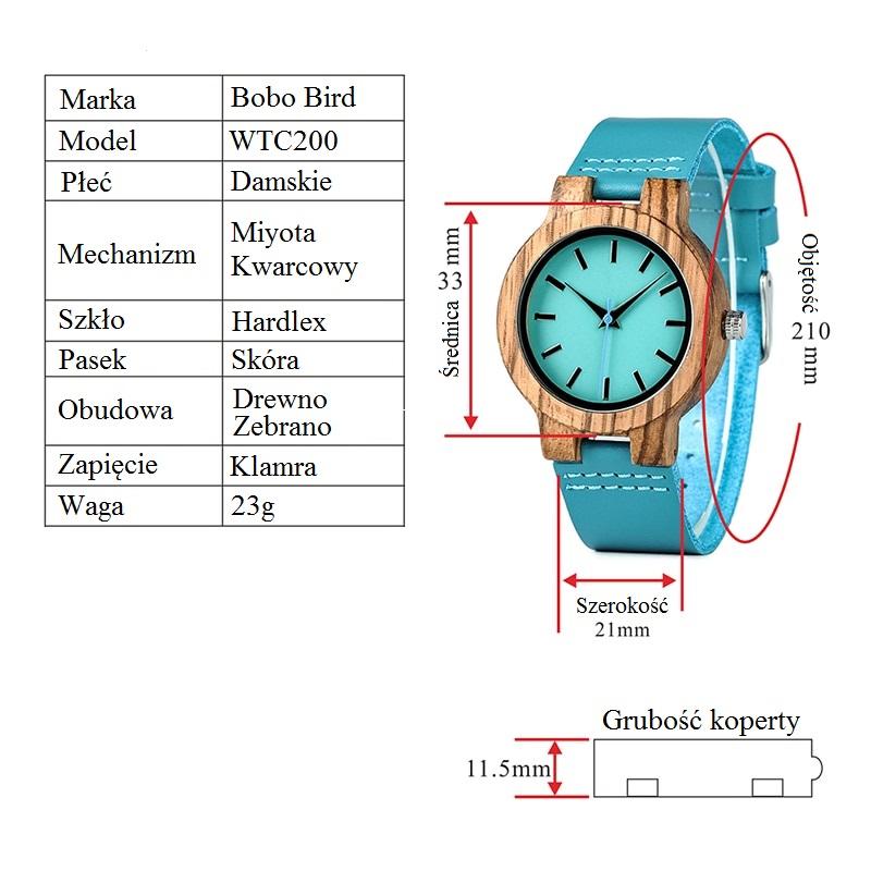 Oryginał Modny Drewniany Zegarek Damski Bobo Bird Blue – Click Market ZC37