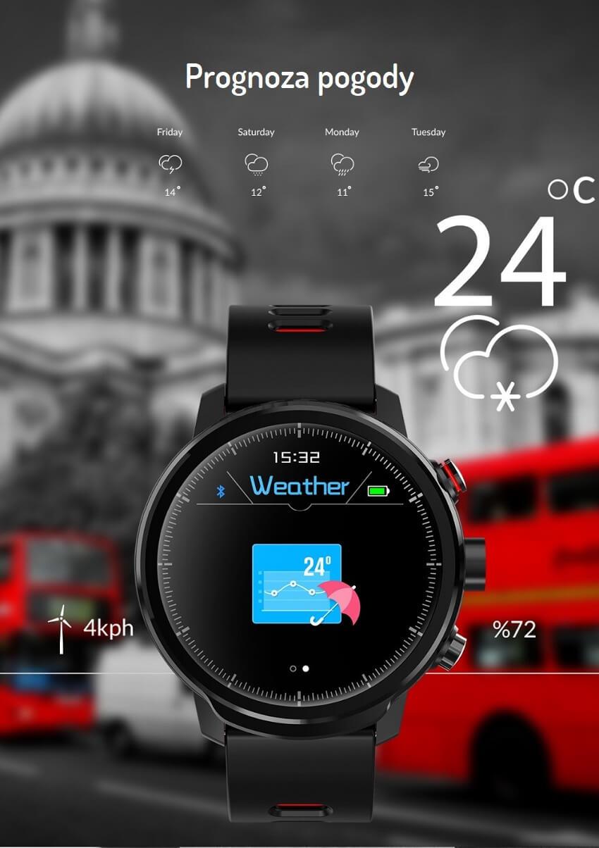 Sportowy Smartwatch CARBON L5 Pulsometr - Krokomierz