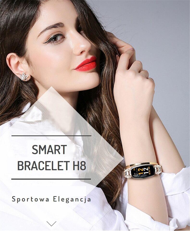 Elegancki Smartwatch Damski Smartbracelet H8 - PULSOMETR